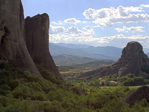 The Meteora Stone Columns with the distant Pindos Mountains Photo by Domenico Salvagnin