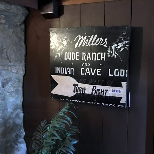 Old Sign from Millers Dude Ranch and Indian Cave Lodge