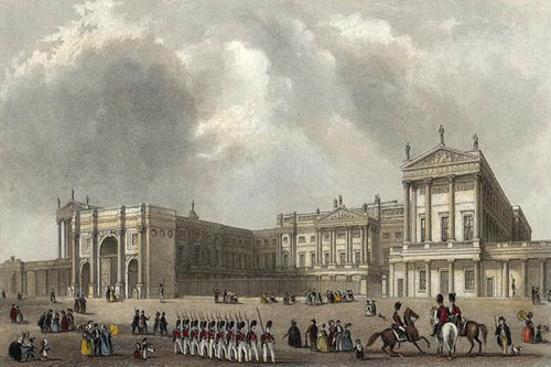 Buckingham Palace as built for George IV with Marble Arch as the front gate Engraving by J Woods after a picture by Hablot Browne and R Garland, published in 1837