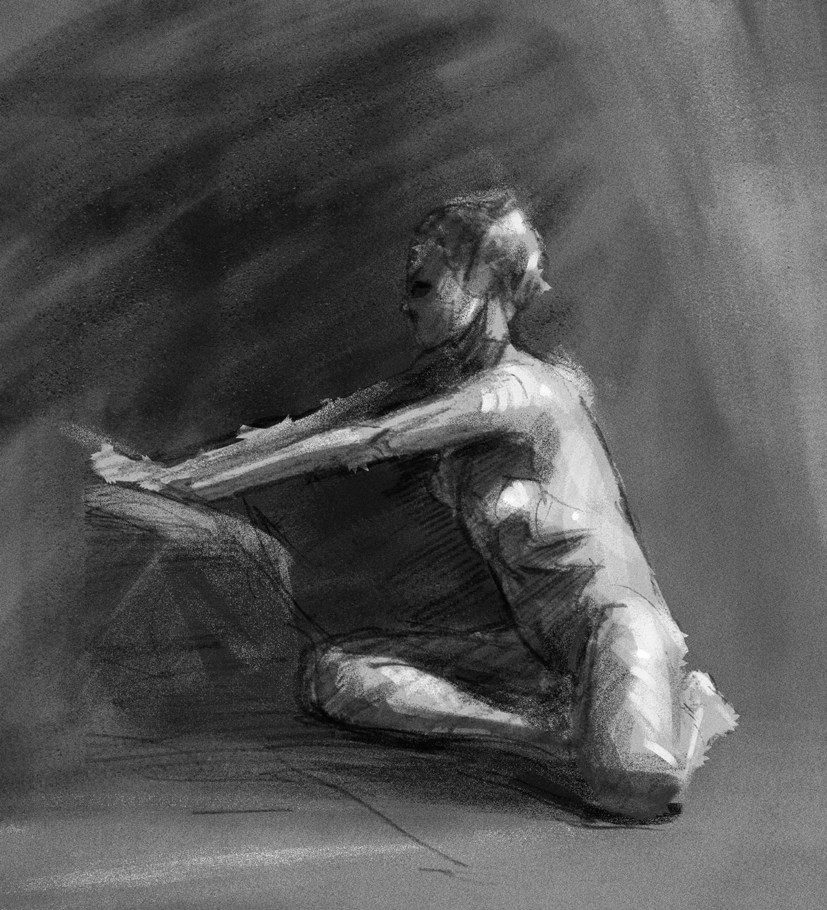 Life drawing rendered digitally.