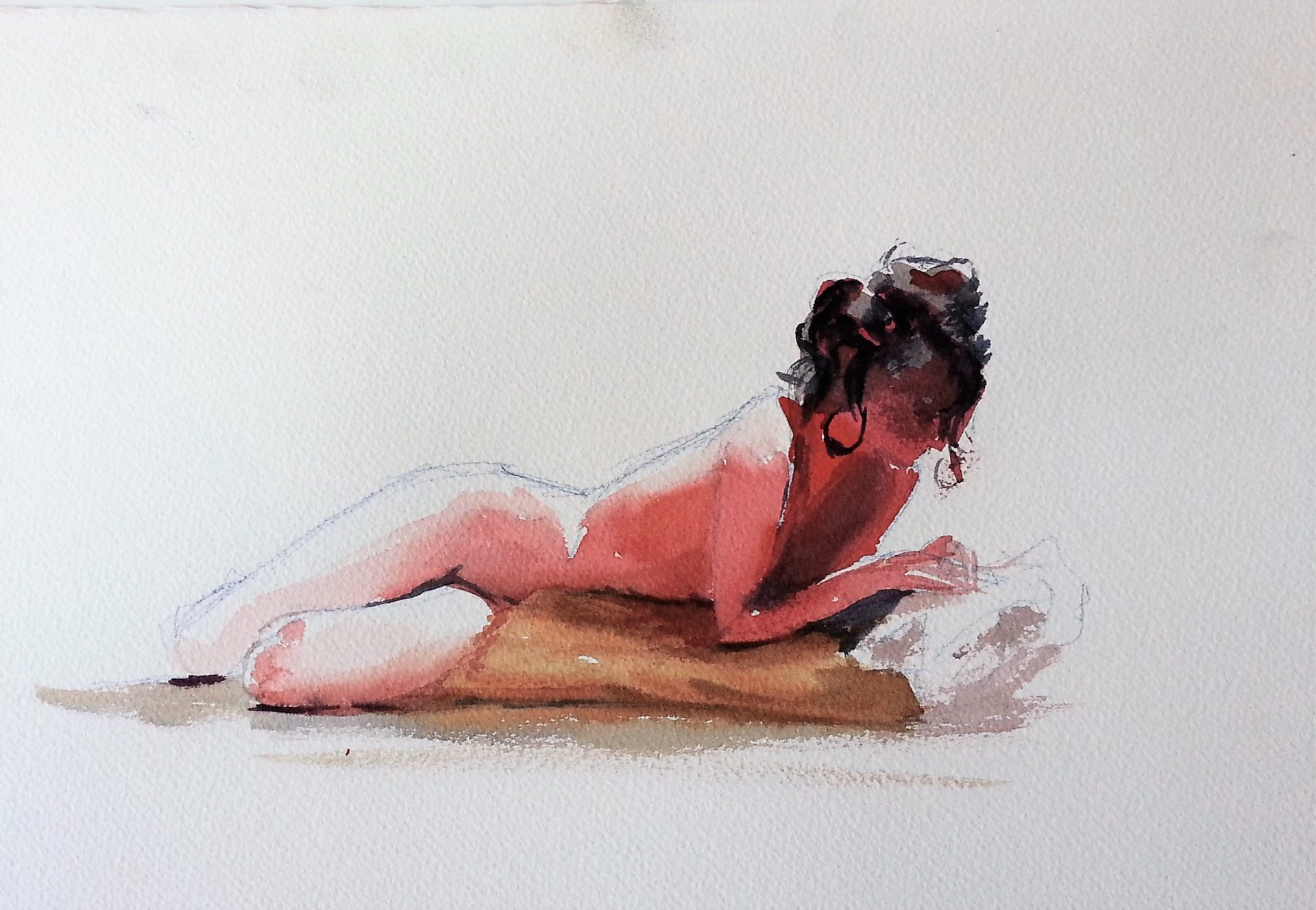 Watercolor painting from Lifedrawing session.