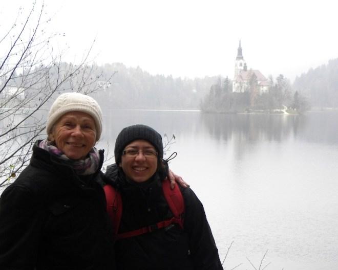 Paula and Kelly at Lake Bled, Slovenia