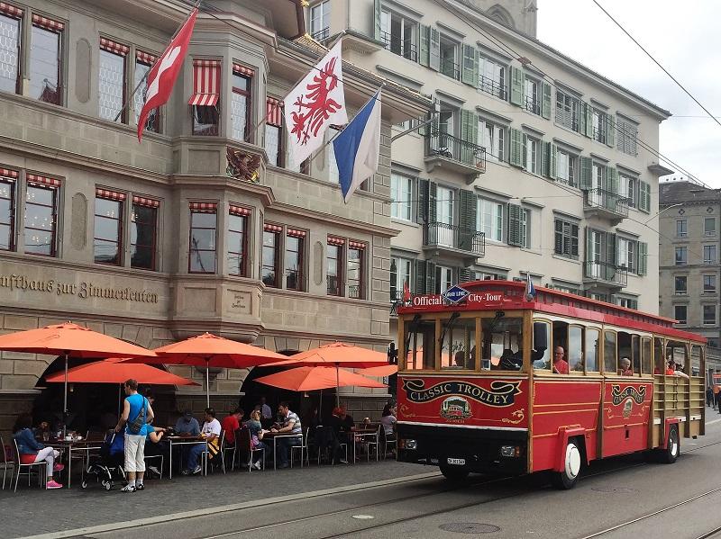 City tour trolley on Limmatquai, Zurich