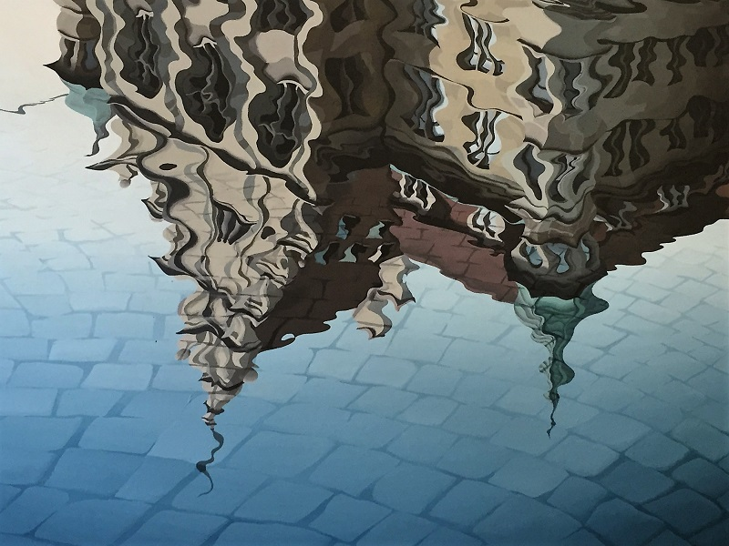 Beautiful painting of the reflection of Stadthaus building in Limmat River, Zurich