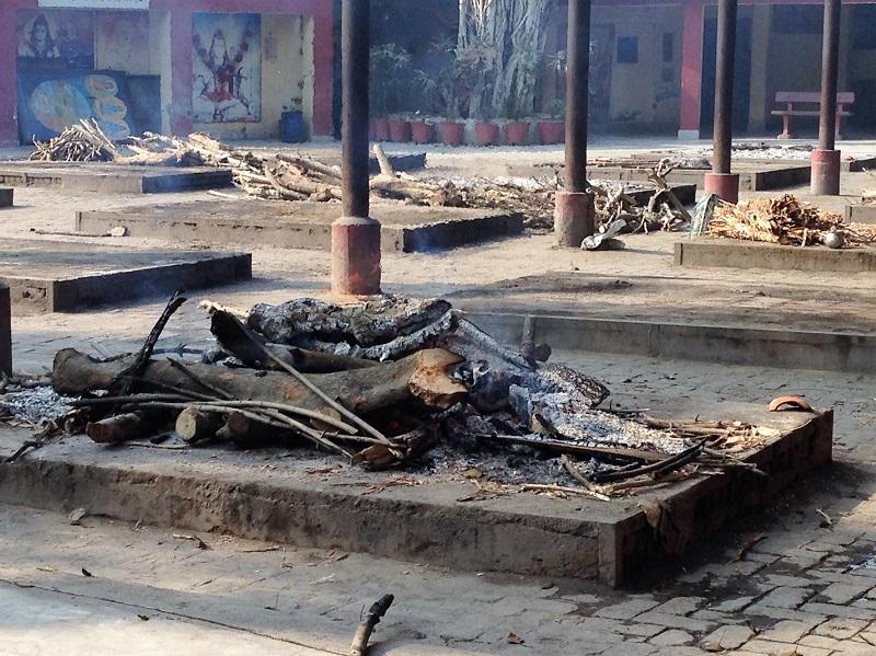 Cremation underway in open air crematorium in Amritsar