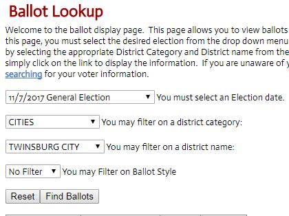 Ballot Lookup Selections
