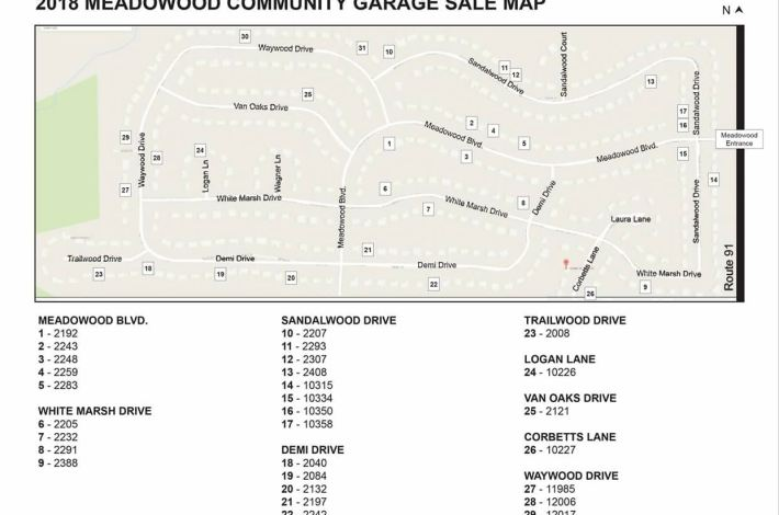 2018 Meadowood Garage Sale Map