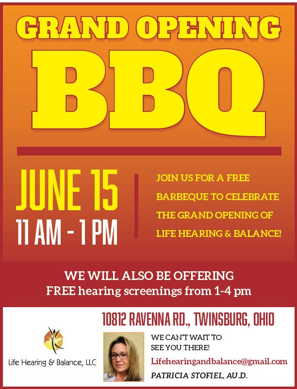 Life Balance & Hearing Grand Opening BBQ Flyer