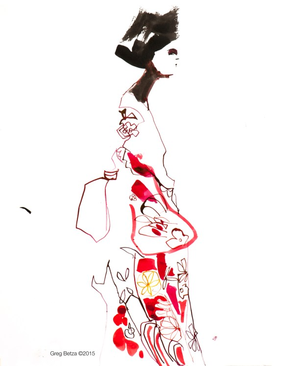 Japanes Fashion illustration by Greg Betza