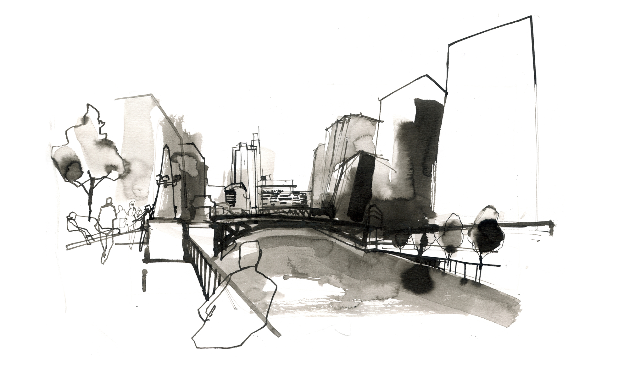 ink drawing of the chicago river