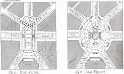 The Place de l'Opéra, before and after turning it into a roundabout