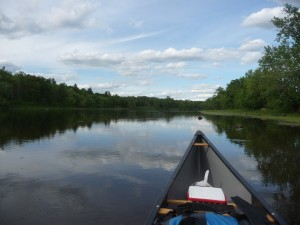 The bow of my canoe and the St. Croix River