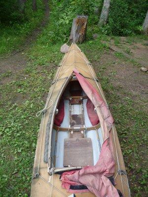 A view of the cockpit of Nedderman's Klepper folding kayak.