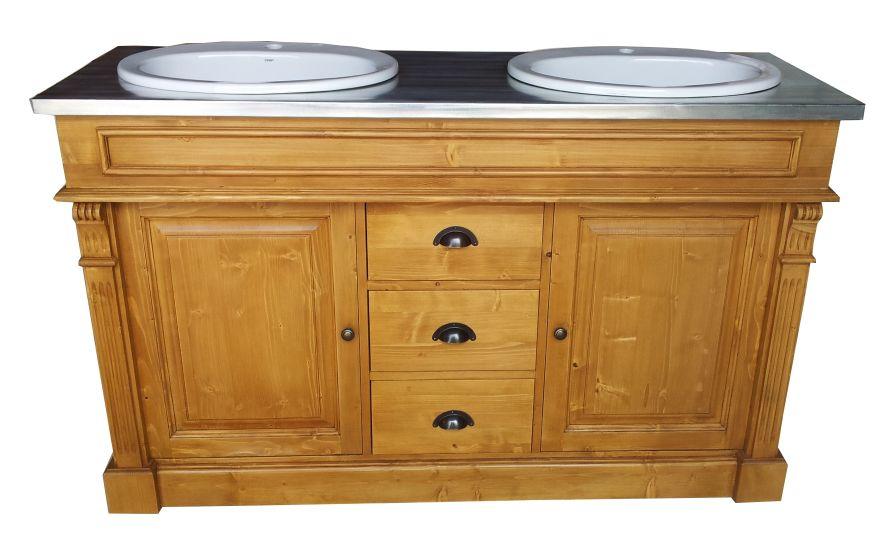 meuble de salle de bain double vasque en pin massif