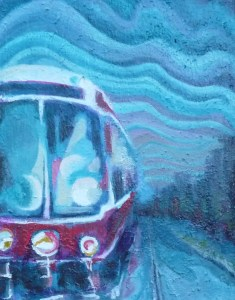 """Very new painting featuring a streetcar. A small painting, 14"""" x 11"""". I spent a lot of time playing with the sky on this on. It still needs a name."""