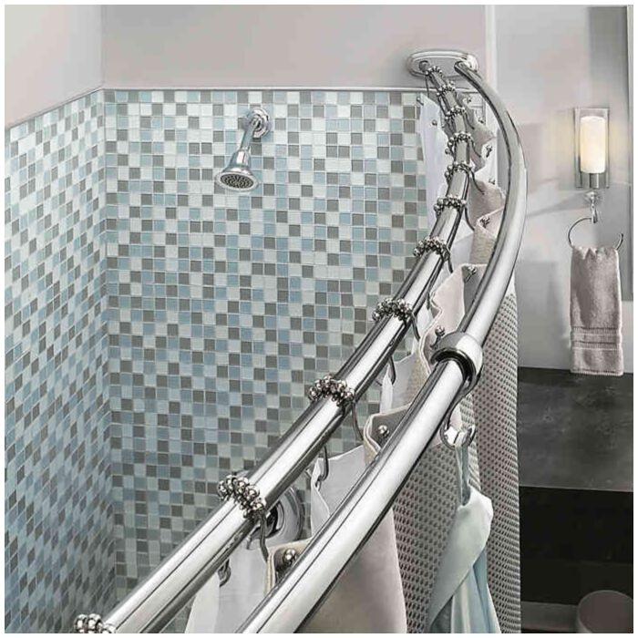 bennington adjustable double curved shower curtain rod chrome