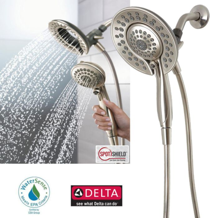 delta faucet 75583sn in2ition 5 function handheld dual shower head 2 in 1 brushed nickel discontinued no longer available