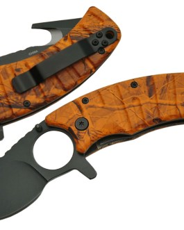 4.5″ ORANGE CAMO GUTHOOK FOLDING KNIFE – SPRING ASSIST
