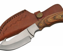 7.5″ PAKKA WOOD  GUTHOOK HUNTING KNIFE