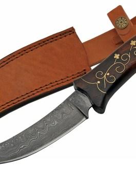 11.5″ DAMASCUS BRASS INLAY HUNTING KNIFE