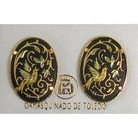 Damascene Gold 20mm x 14mm Oval Bird Stud Earrings by Midas of Toledo Spain style 810002