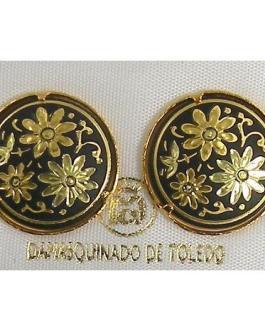 Damascene Gold 17mm Round Flower Stud Earrings by Midas of Toledo Spain style 810003