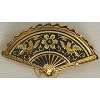 Damascene Gold Bird Fan Brooch by Midas of Toledo Spain style 825008