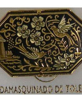 Damascene Gold Bird Octagon Brooch by Midas of Toledo Spain style 825012