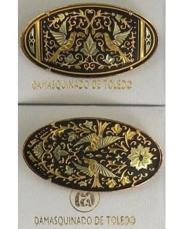 Damascene Gold Bird Oval Brooch by Midas of Toledo Spain style 825016