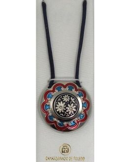 Damascene Silver and Enamel Red and Blue Flower Round Pendant on Cord Necklace by Midas of Toledo Spain style 9245-1
