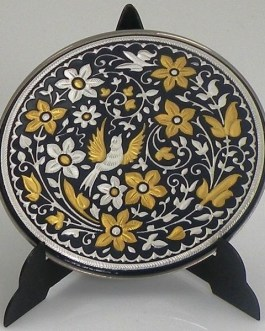 Damascene Gold and Silver Bird Round Decorative Plate by Midas of Toledo Spain style 92937-2
