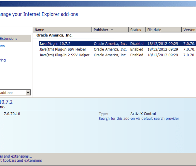 Another Way To Mitigate This Classid Is To Disable The Java Plugins Activex Control Through Ies Manage Add Ons