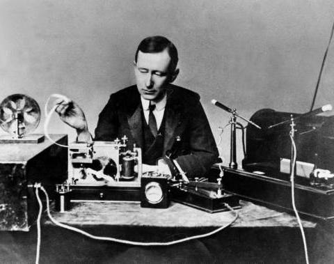 Guglielmo_Marconi in 1901; public domain photo part of the LIFE Photo Archive
