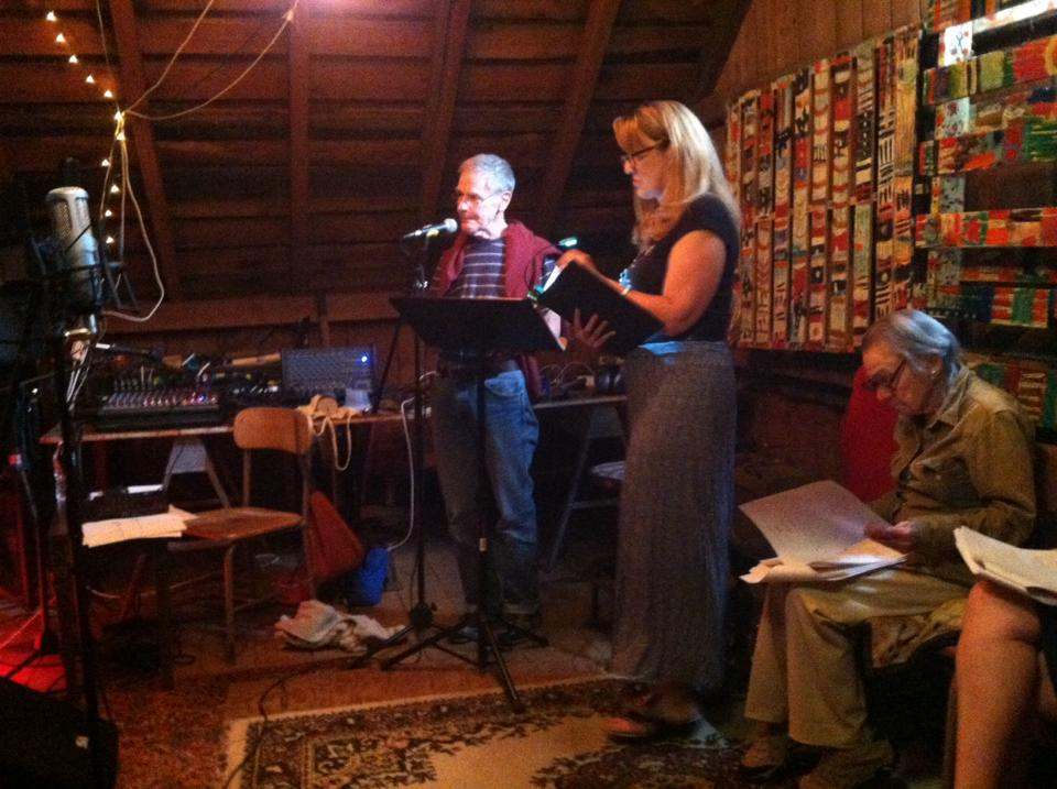 "Red Room Radio Redux players rehearse ""Open Your Ears,"" which will be performed 7:00 p.m. July 29 at the BarN at 1401 Green River Road, Williamstown; photo by Karl Mullen"