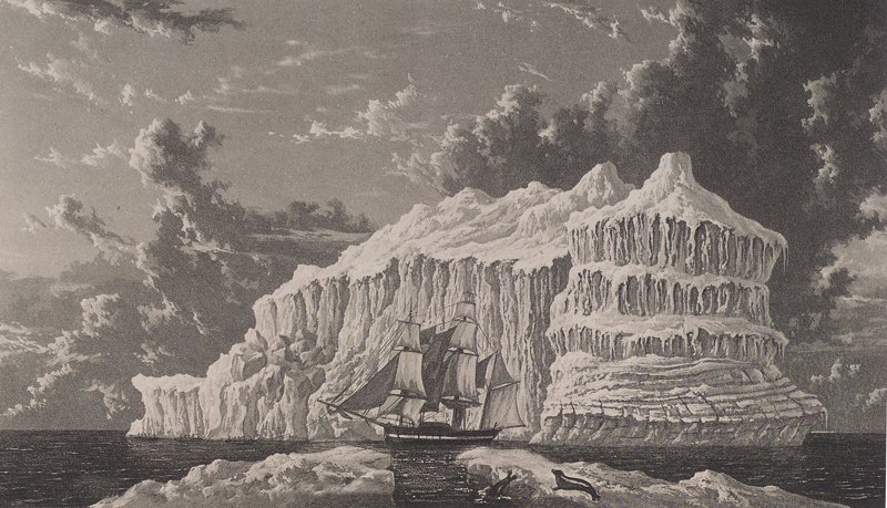 """""""Iceberg in Baffins Bay,"""" by William Westall, July 1819; image courtesy Toronto Public Library (CC BY-SA 2.0)"""