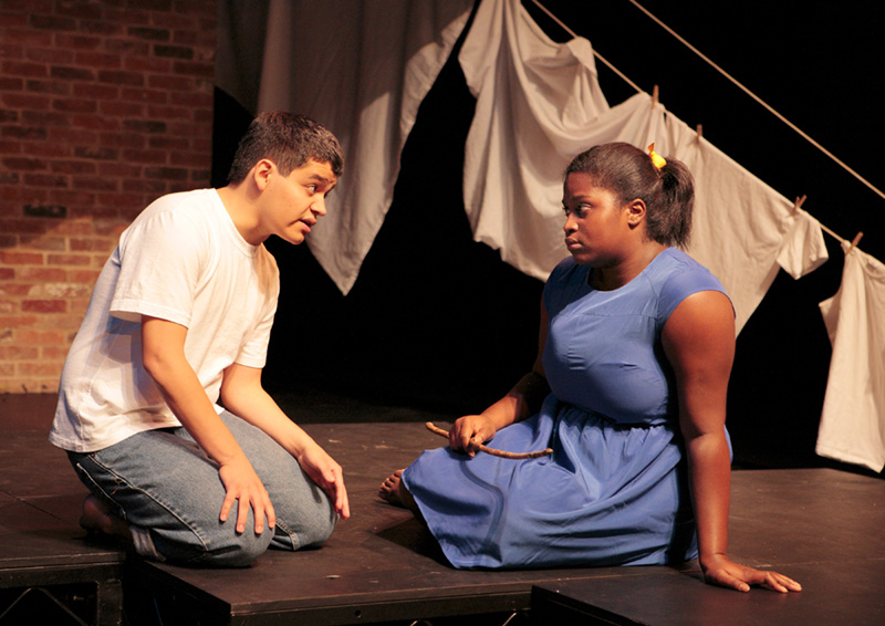 "Jonathan Gonzalez and Kimberly Golding in Williams College Summer Theatre Lab's 2013–2014 season production of ""A Brief History of America;"" photo courtesy WCSTL"