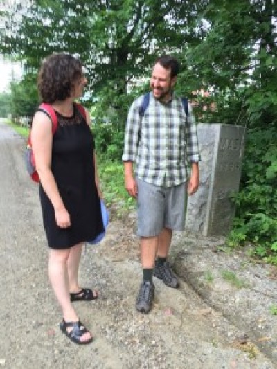 Alana and Joey Chernila near the beginning of their week-long hike from Pownal, Vt. to New Canaan, Conn.; submitted photo