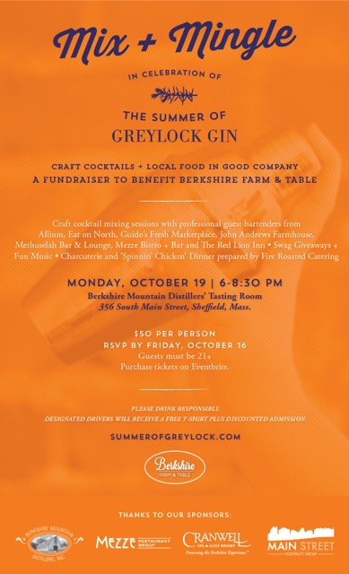 Berkshire Farm and Table celebrates the first summer of Greylock Gin on Monday, October 18th, 2015.