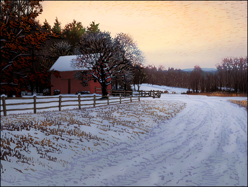 """Winter Dusk,"" by John MacDonald; image courtesy Country Curtains"