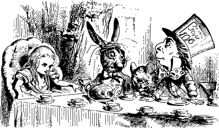 """The Mad Tea Party;"" Alice goes on variations of the ""hero's journey"" in ""Alice in Wonderland"" and ""Through the Looking Glass;"" illustration by John Tenniel, 1865. Although popular in children's literature, the monomyth is ubiquitous throughout all genres of fiction."