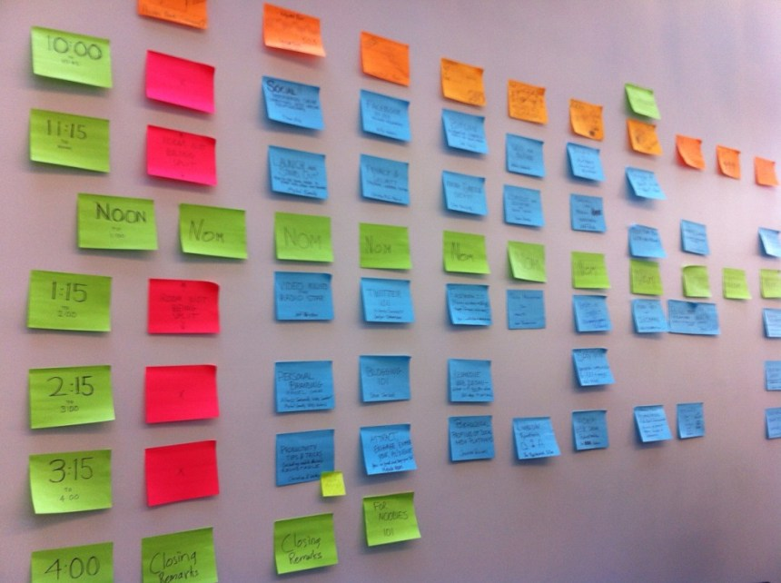 The agenda wall; submitted photo.
