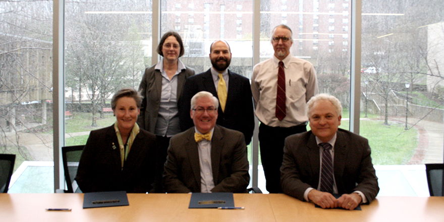 Front row, from left to right, WNEU Provost Linda Jones, President Birge, WNEU School of Law Dean Eric Gouvin. Back row, from left to right, MCLA Vice President of Academic Affairs Dr. Cynthia Brown; Dr. Ben Taylor, MCLA assistant professor of history, political science and public policy; and Dr. Matthew Silliman, MCLA philosophy professor (submitted photo).