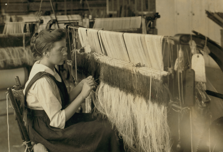 """""""Drawing-in""""—15 years. Berkshire Cotton Mills, by Lewis W. Hine; Adams, Mass.; July 10 1916 (National Archives Catalog)."""