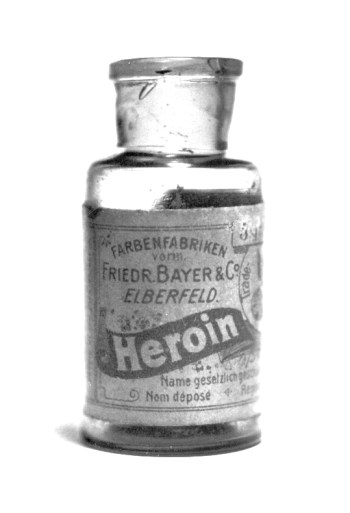 1920's Bayer heroin bottle—pain has been managed through opium-derived substances by medical practitioners for centuries (photo, Public Domain).