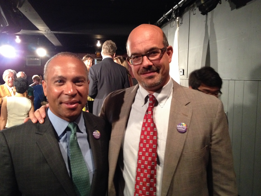 Former Governor. Deval Patrick (left) with MASSCreative executive director Matt Wilson on July 06, 2014 at Barrington Stage Company, Pittsfield announcing that he would allocate $15 million to the state's Cultural Facilities Fund (photo courtesty mass-creative.org).