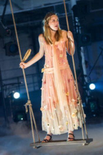 Ellen Haun, as the muse, Calliope, in Orpheus in the Berkshires. (photo by Daniel Rader)