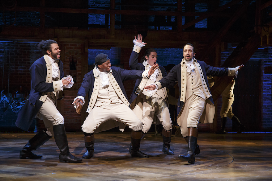 "Daveed Diggs, Okieriete Onaodowan, Anthony Ramos, and Lin-Manuel Miranda of ""Hamilton,"" 2014–2015 Season, Public Theater (photo by Joan Marcus)."