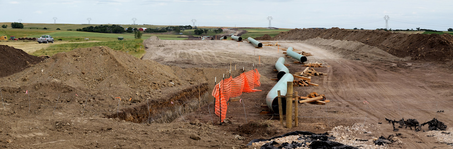 The Dakota Access Pipeline (under construction) The finished pipeline will carry up to 450,000 barrels a day of Bakken crude to a terminal near Patoka, Illinois (photo by Lars Ploughman).