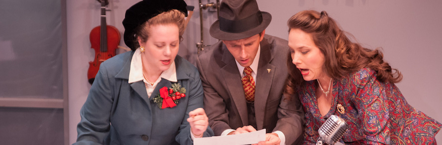 "Jennie M. Jadow, Ryan Winkles, and Sarah Jeanette Taylor in ""It's a Wonderful Life,"" adapted by Joe Landry, directed by Jenna Ware (photo by Enrico Spada."