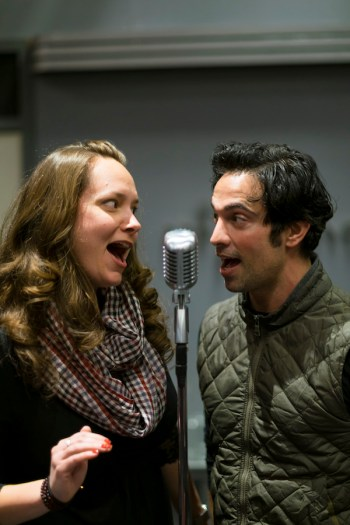 "Sarah Jeanette Taylor and David Joseph rehearse for ""It's A Wonderful Life: A Live Radio Play,' (photo by Ava G. Lindenmaier)."
